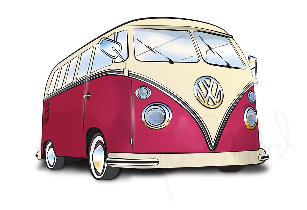 Illustration Services - VW Camper Van - Warwickshire